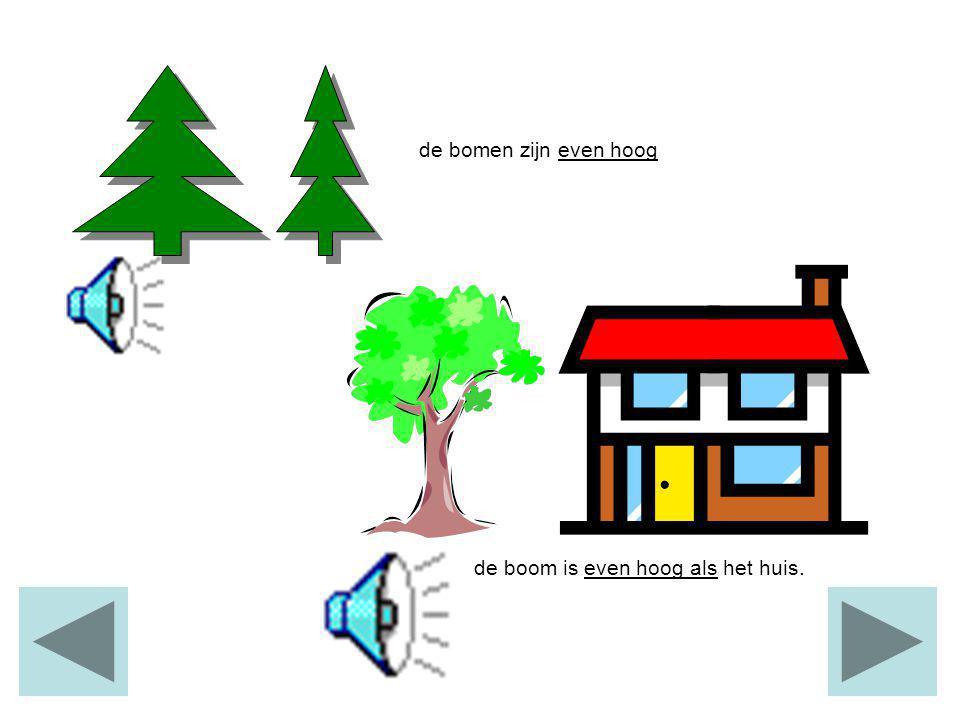 de bomen zijn even hoog de boom is even hoog als het huis.