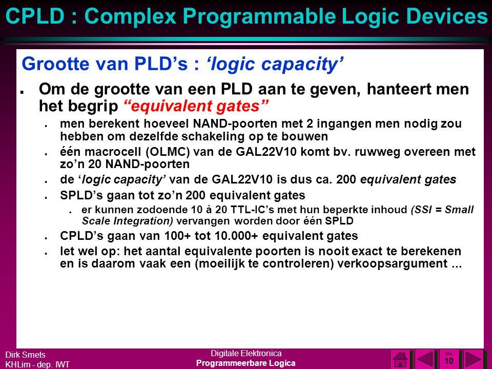 Grootte van PLD's : 'logic capacity'