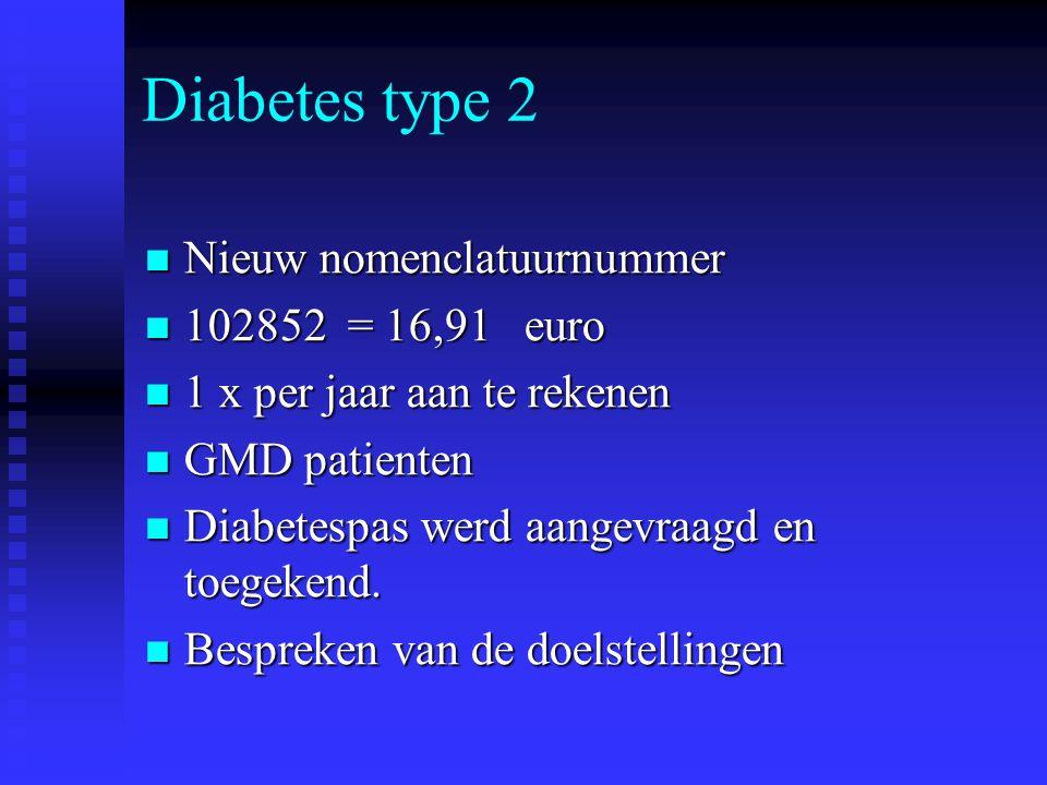Diabetes type 2 Nieuw nomenclatuurnummer 102852 = 16,91 euro