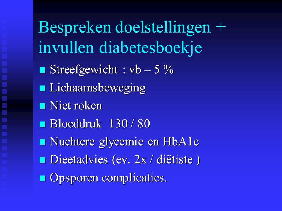 Bespreken doelstellingen + invullen diabetesboekje