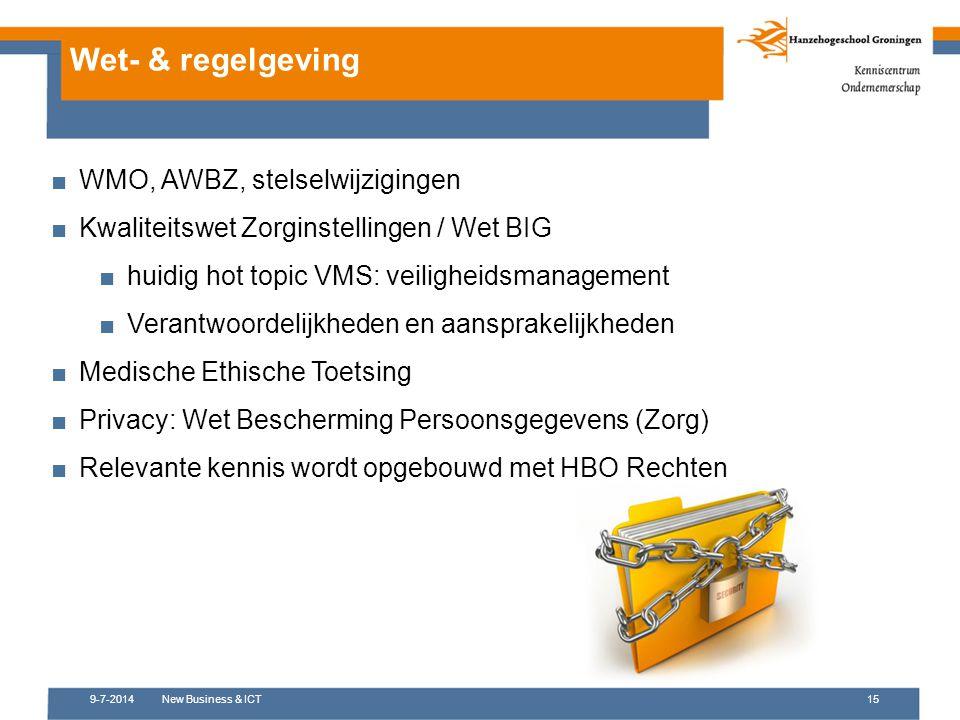 Wet- & regelgeving WMO, AWBZ, stelselwijzigingen