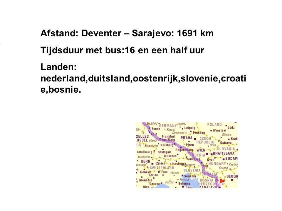 Afstand: Deventer – Sarajevo: 1691 km