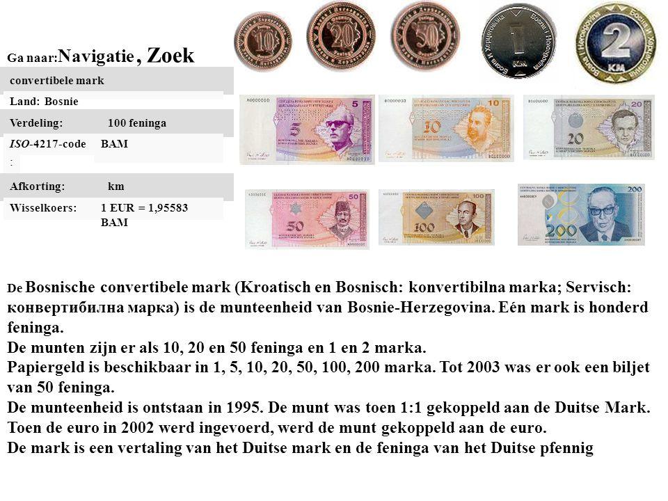 De munten zijn er als 10, 20 en 50 feninga en 1 en 2 marka.
