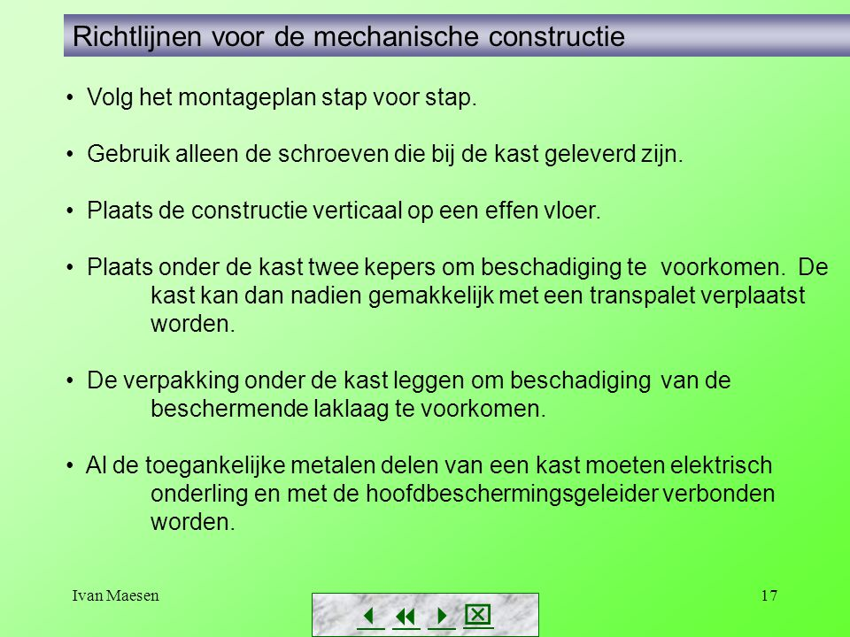 Richtlijnen voor de mechanische constructie