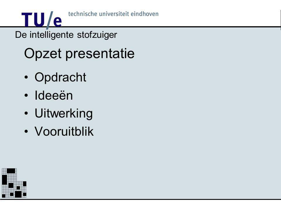 Opzet presentatie Opdracht Ideeën Uitwerking Vooruitblik