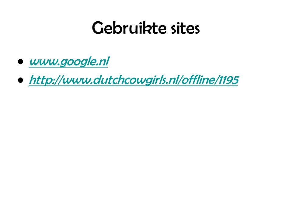 Gebruikte sites www.google.nl http://www.dutchcowgirls.nl/offline/1195