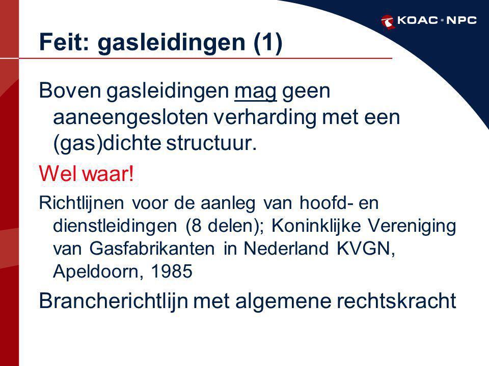 Feit: gasleidingen (1) Boven gasleidingen mag geen aaneengesloten verharding met een (gas)dichte structuur.