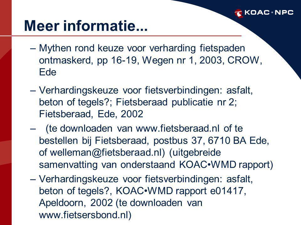 Meer informatie... Mythen rond keuze voor verharding fietspaden ontmaskerd, pp 16-19, Wegen nr 1, 2003, CROW, Ede.