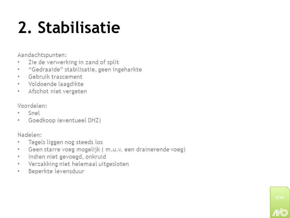 2. Stabilisatie Aandachtspunten: Zie de verwerking in zand of split