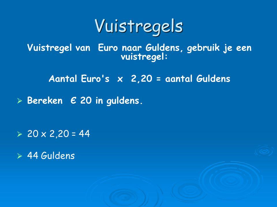 Vuistregels Vuistregel van Euro naar Guldens, gebruik je een vuistregel: Aantal Euro s x 2,20 = aantal Guldens.