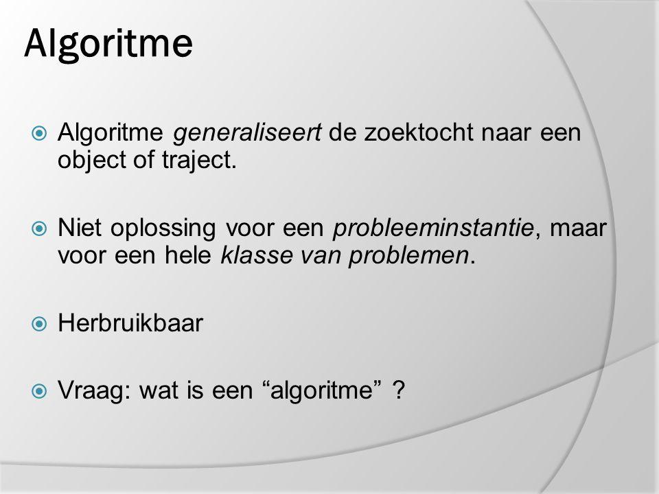 Algoritme Algoritme generaliseert de zoektocht naar een object of traject.
