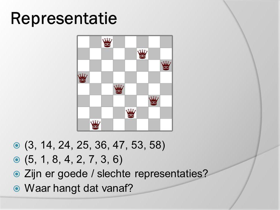 Representatie (3, 14, 24, 25, 36, 47, 53, 58) (5, 1, 8, 4, 2, 7, 3, 6) Zijn er goede / slechte representaties