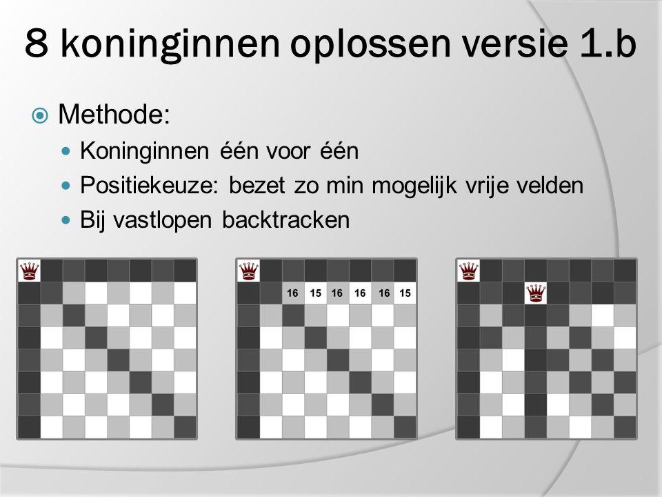 8 koninginnen oplossen versie 1.b