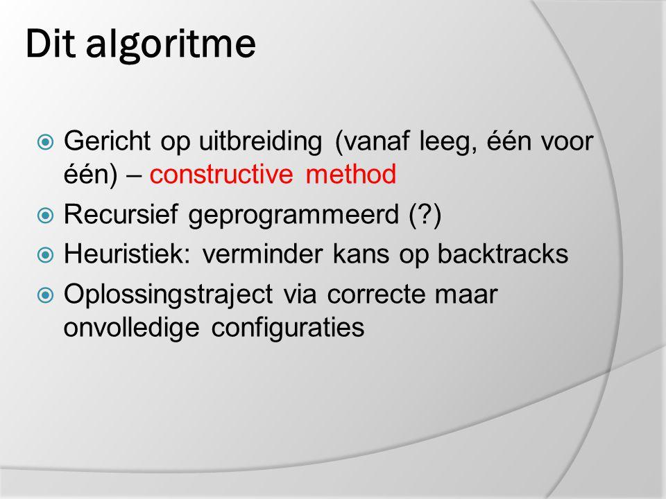 Dit algoritme Gericht op uitbreiding (vanaf leeg, één voor één) – constructive method. Recursief geprogrammeerd ( )