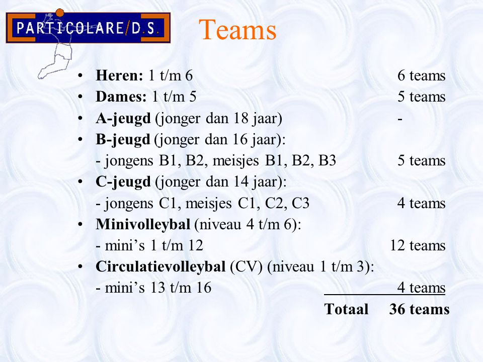 Teams Heren: 1 t/m 6 6 teams Dames: 1 t/m 5 5 teams