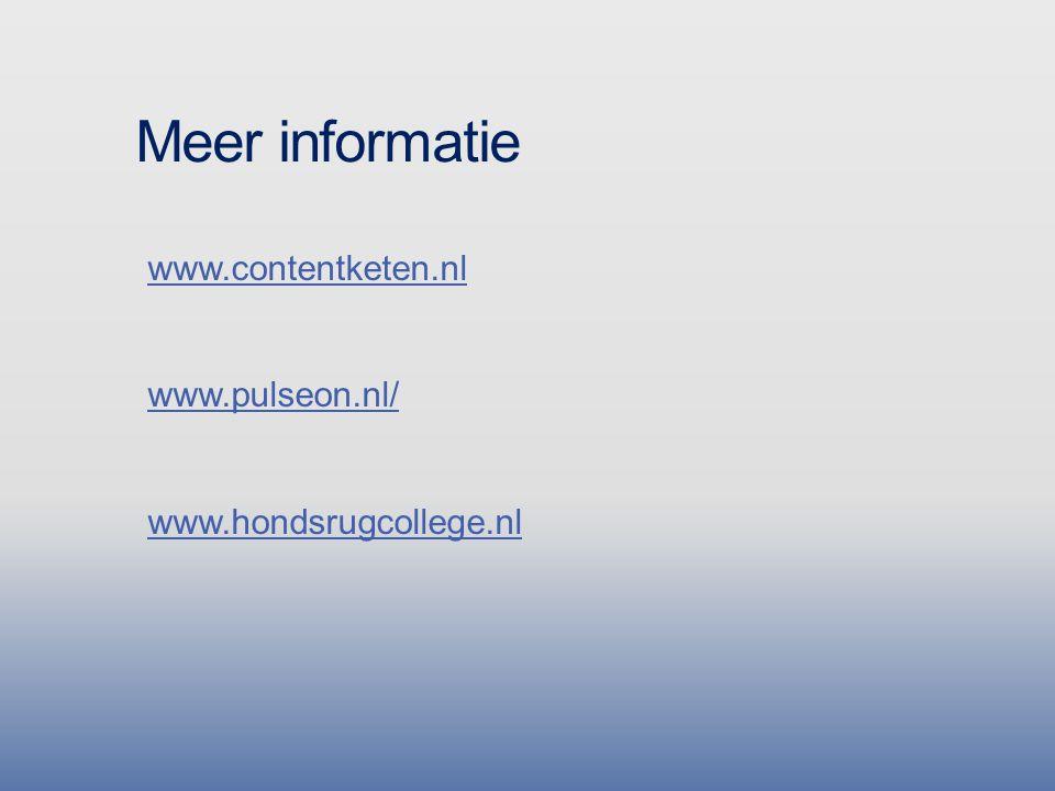 Meer informatie www.contentketen.nl www.pulseon.nl/