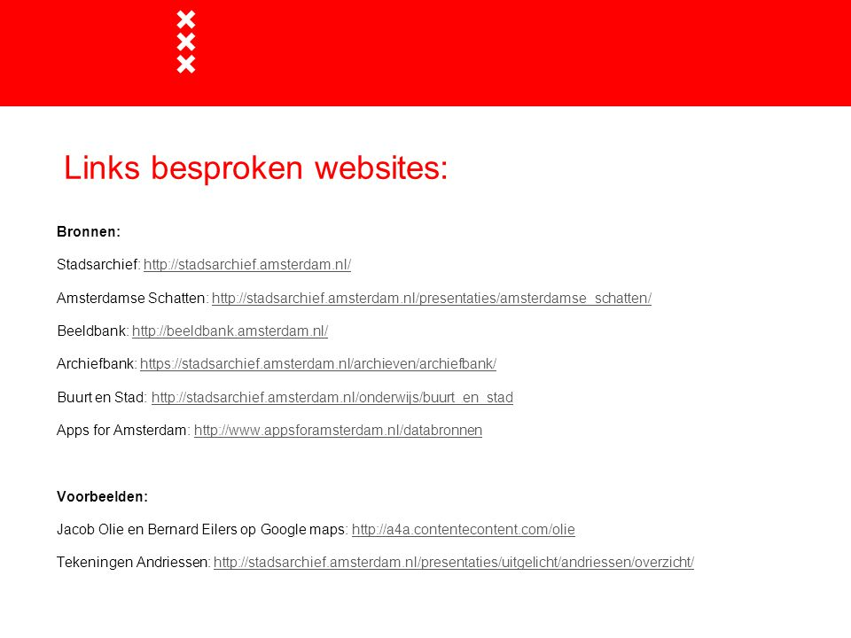 Links besproken websites: