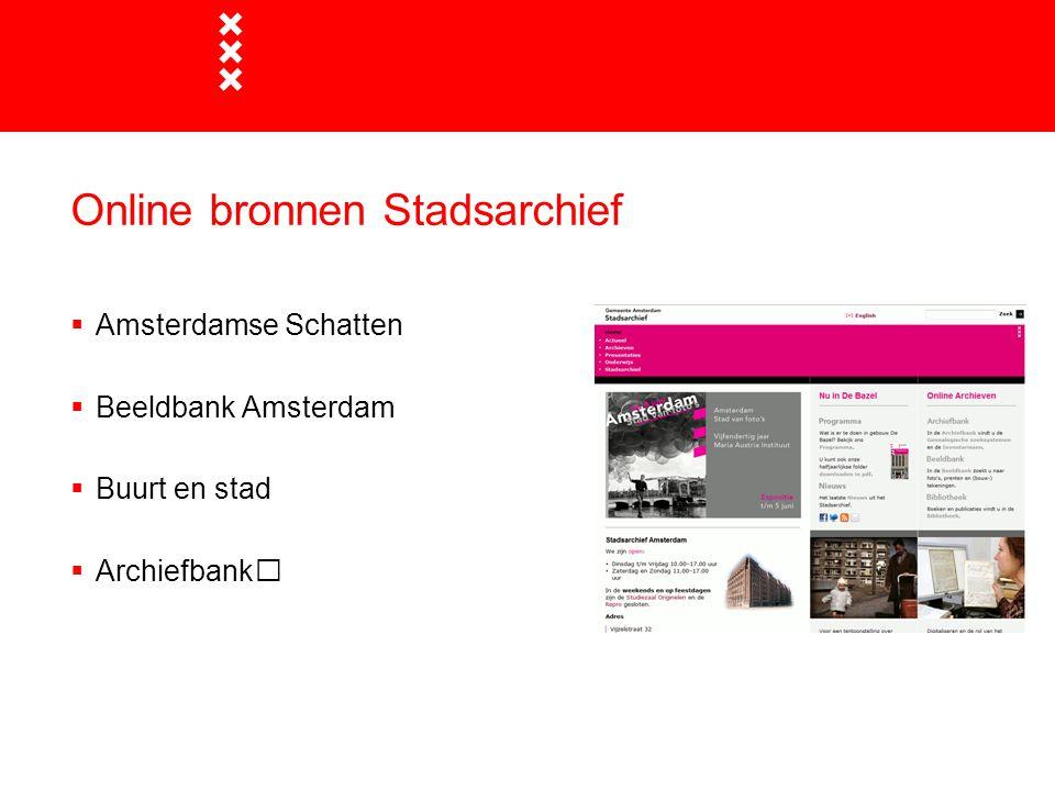 Online bronnen Stadsarchief