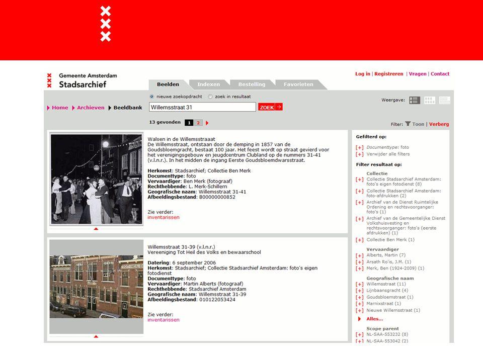 Op dit moment een raadpleegsysteem voor de fotocollectie van het Stadsarchief Amsterdam met ongeveer 280.000 foto's, tekeningen etc