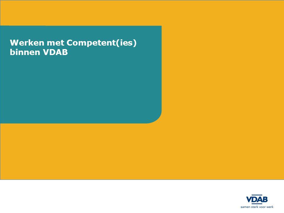 Werken met Competent(ies) binnen VDAB