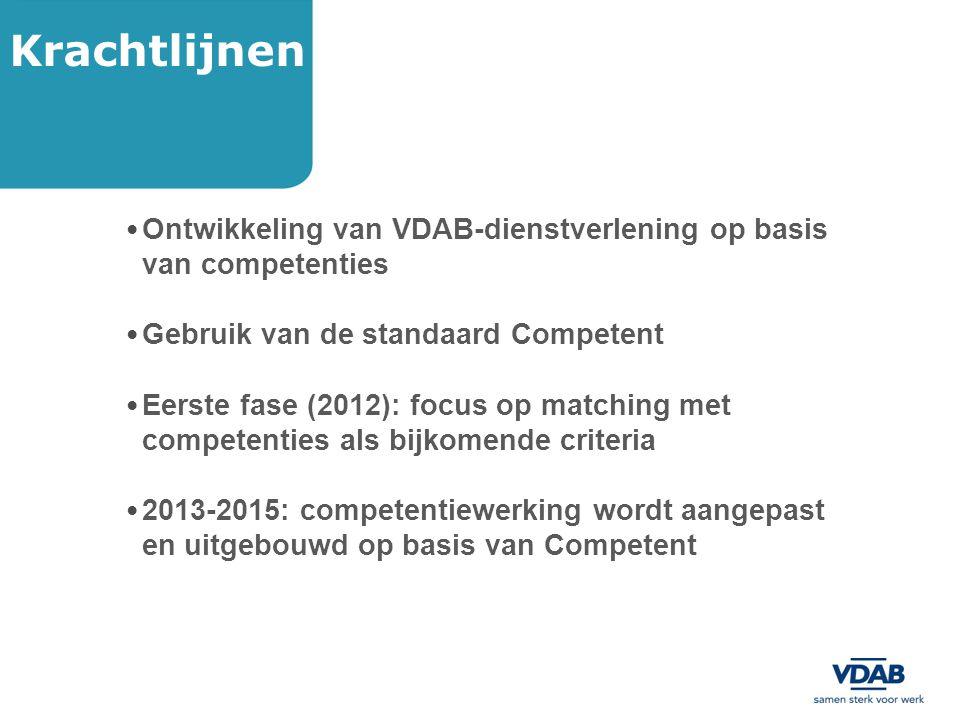 Krachtlijnen Ontwikkeling van VDAB-dienstverlening op basis van competenties. Gebruik van de standaard Competent.