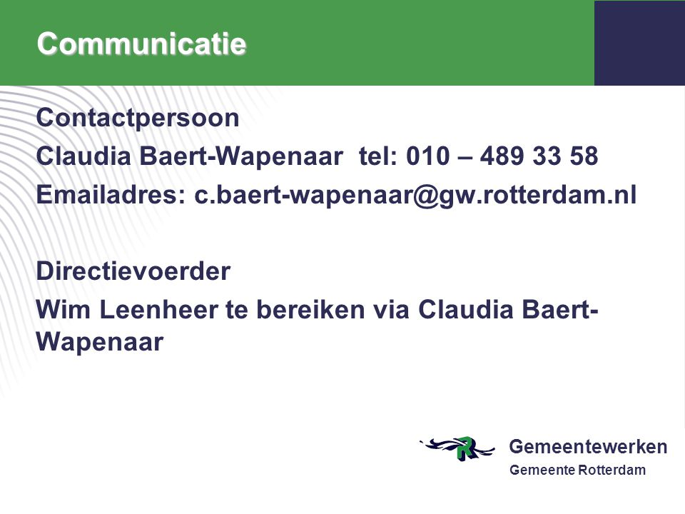 Communicatie Contactpersoon
