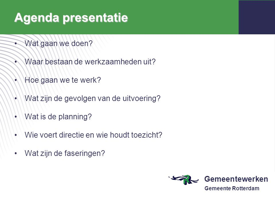 Agenda presentatie Wat gaan we doen