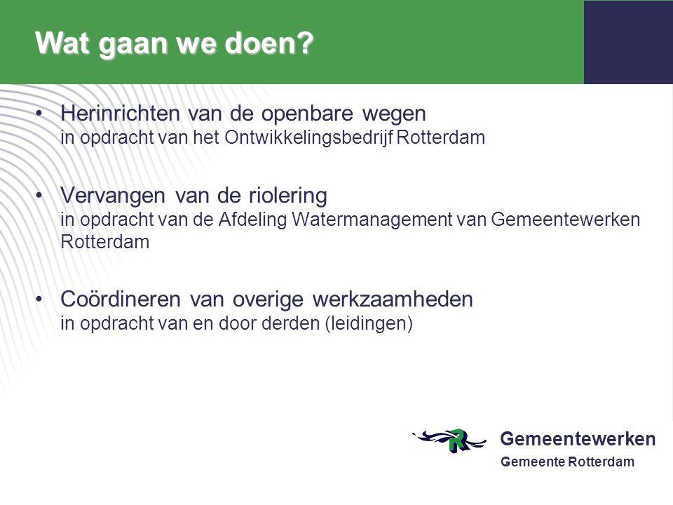Wat gaan we doen Herinrichten van de openbare wegen in opdracht van het Ontwikkelingsbedrijf Rotterdam.