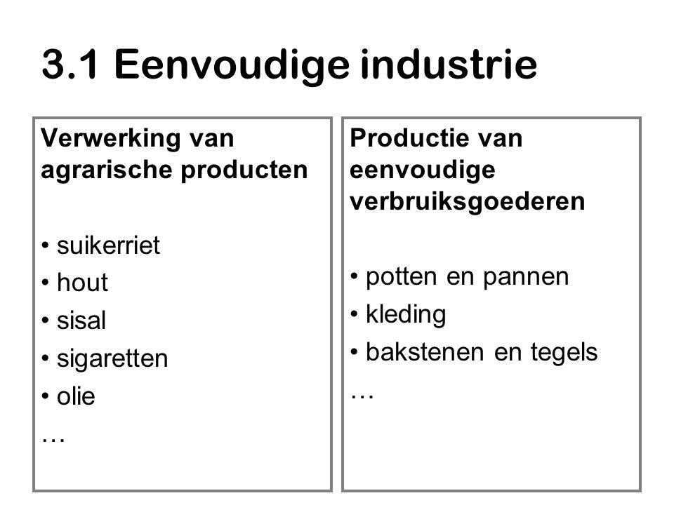 3.1 Eenvoudige industrie Verwerking van agrarische producten