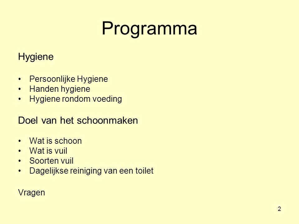Programma Hygiene Doel van het schoonmaken Persoonlijke Hygiene