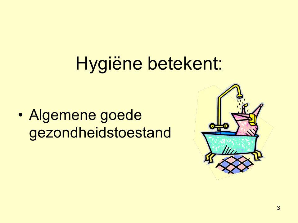 Hygiëne betekent: Algemene goede gezondheidstoestand