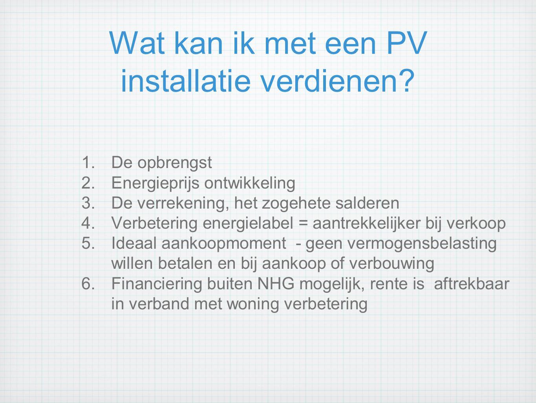 Wat kan ik met een PV installatie verdienen