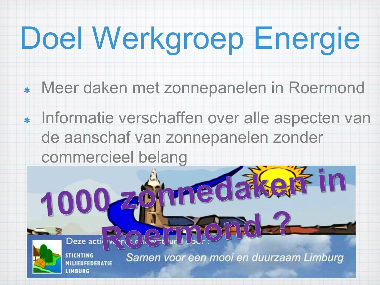 Doel Werkgroep Energie
