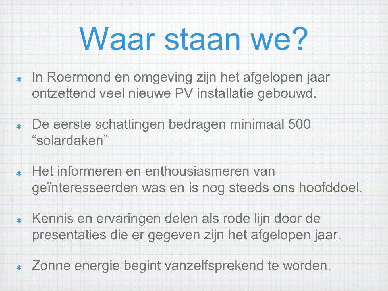Waar staan we In Roermond en omgeving zijn het afgelopen jaar ontzettend veel nieuwe PV installatie gebouwd.