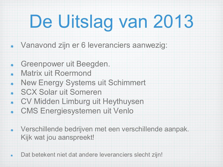 De Uitslag van 2013 Vanavond zijn er 6 leveranciers aanwezig: