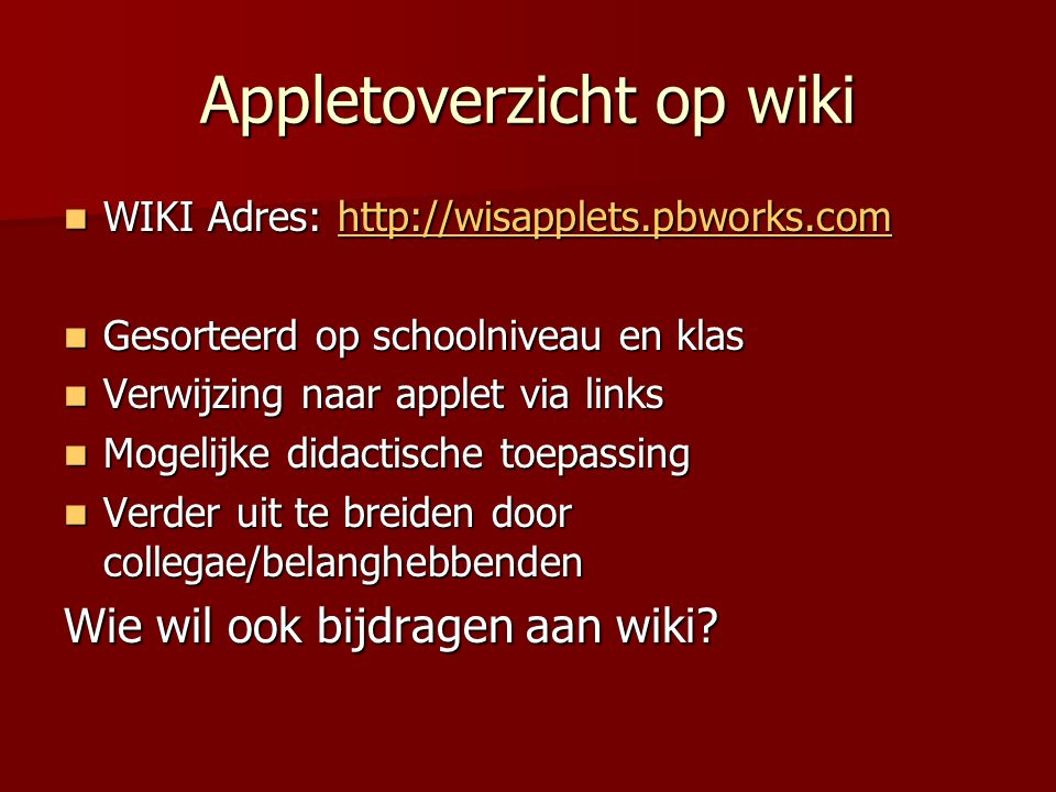 Appletoverzicht op wiki