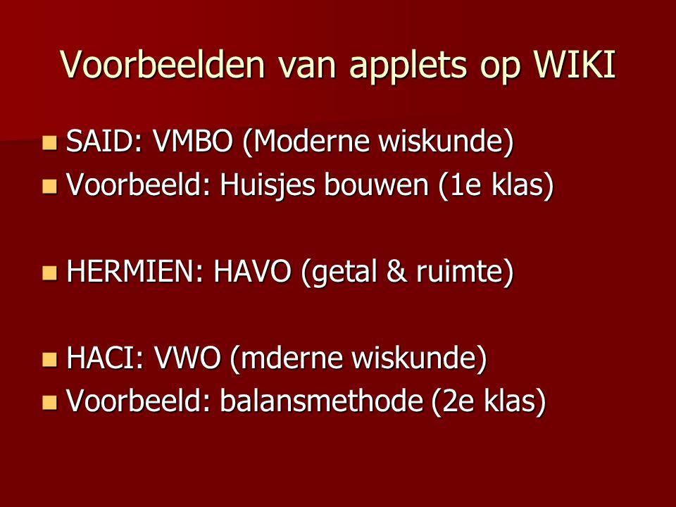 Voorbeelden van applets op WIKI
