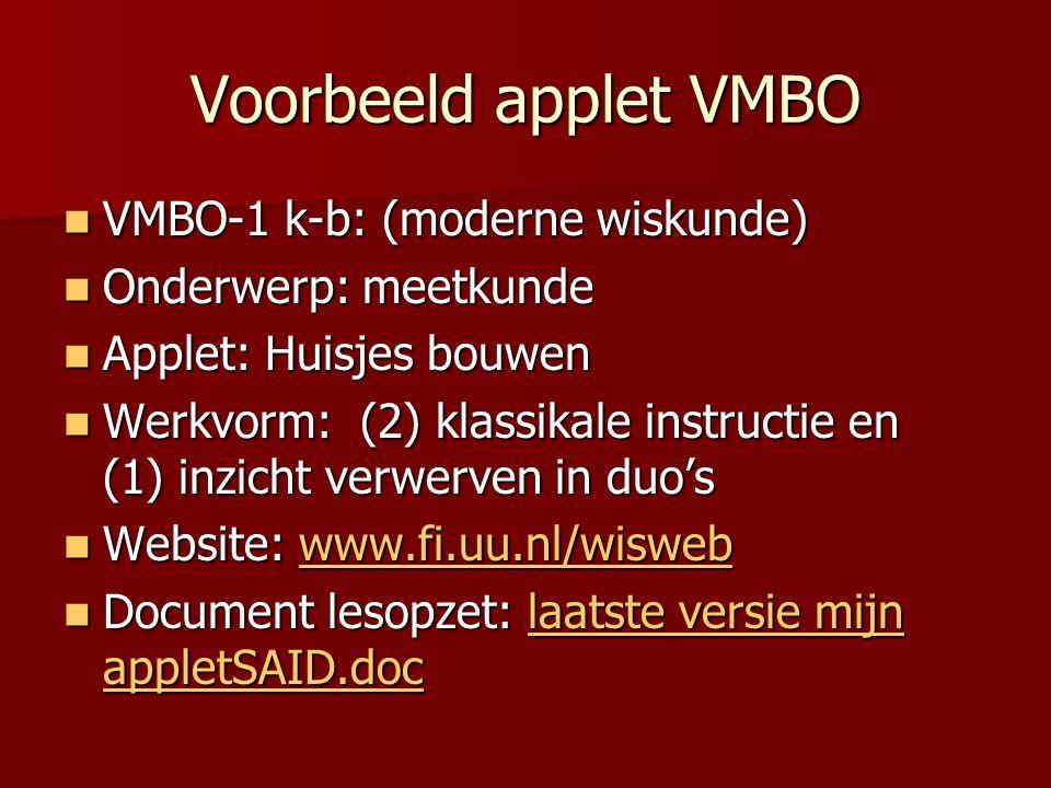 Voorbeeld applet VMBO VMBO-1 k-b: (moderne wiskunde)