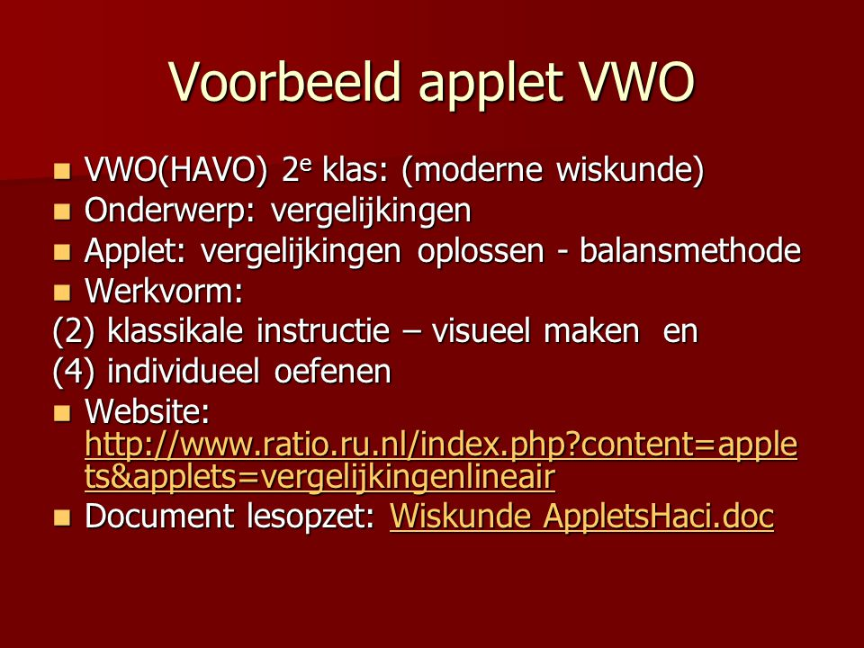 Voorbeeld applet VWO VWO(HAVO) 2e klas: (moderne wiskunde)