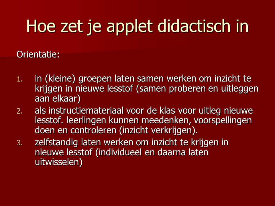 Hoe zet je applet didactisch in