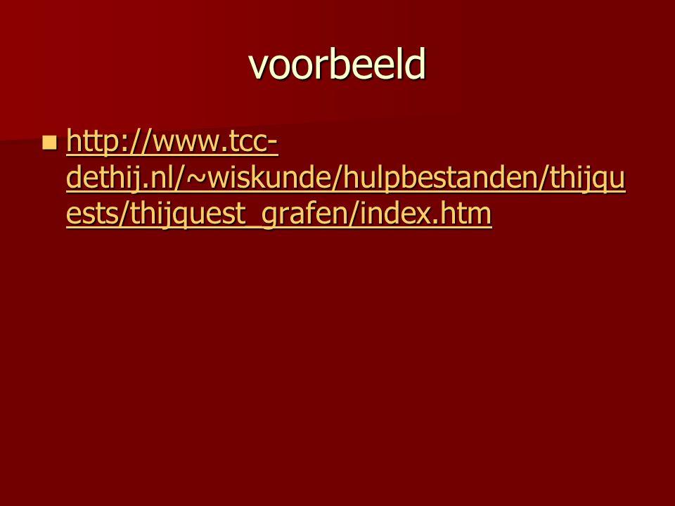 voorbeeld http://www.tcc-dethij.nl/~wiskunde/hulpbestanden/thijquests/thijquest_grafen/index.htm