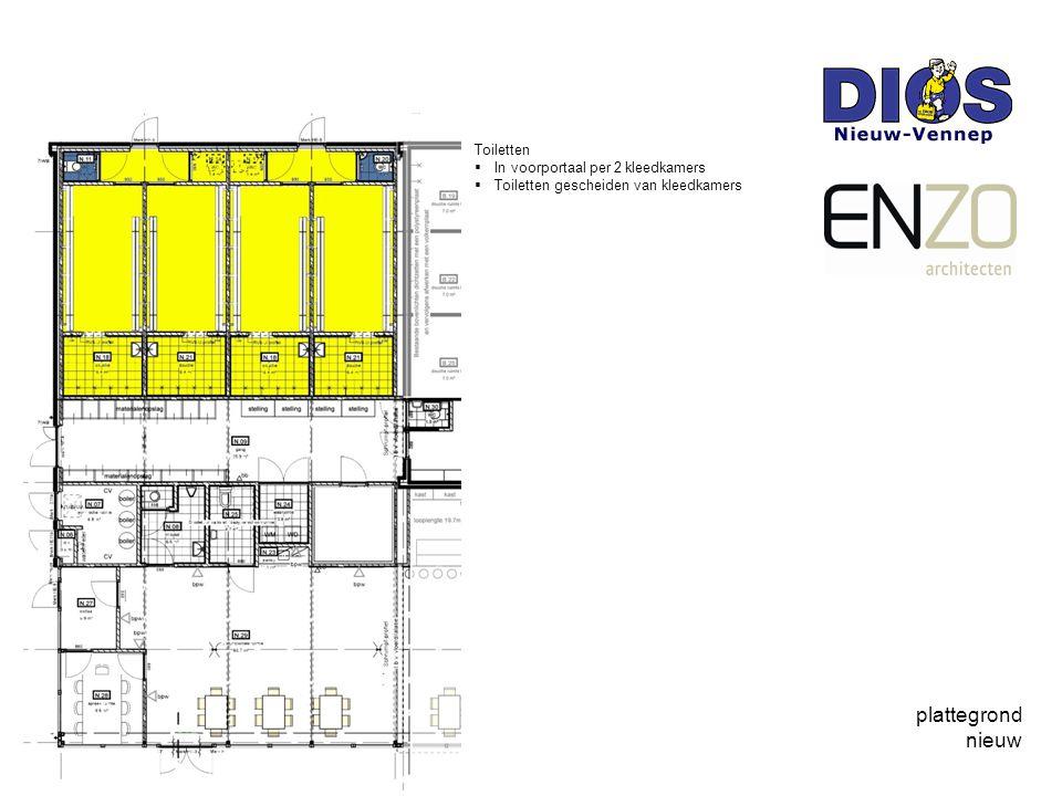 plattegrond nieuw Toiletten In voorportaal per 2 kleedkamers