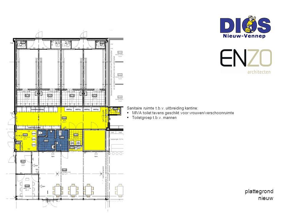 plattegrond nieuw Sanitaire ruimte t.b.v. uitbreiding kantine: