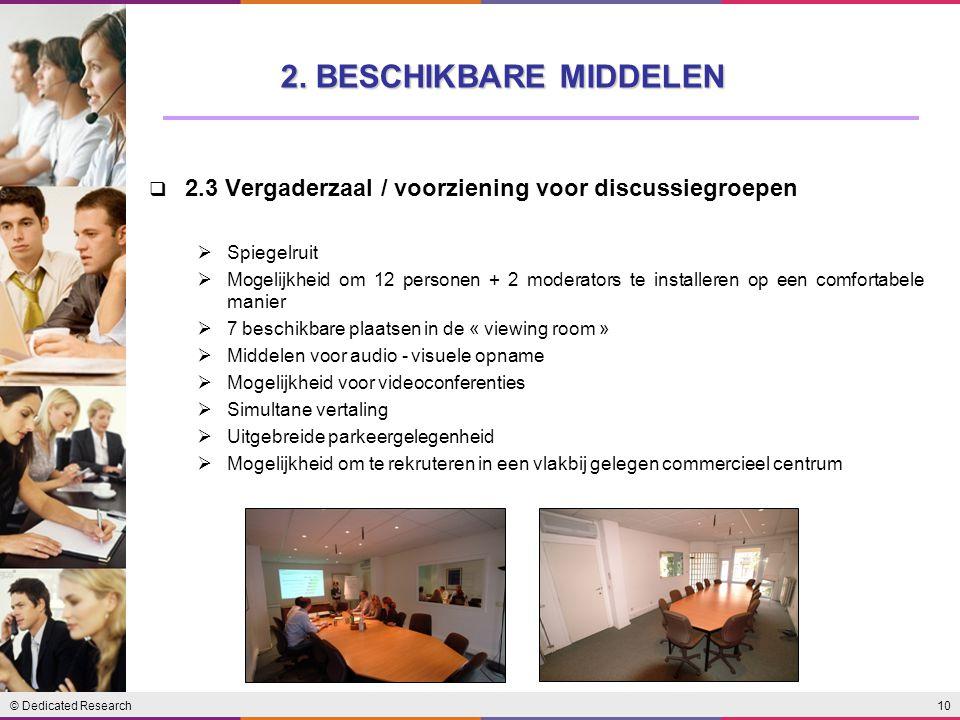 2. BESCHIKBARE MIDDELEN 2.3 Vergaderzaal / voorziening voor discussiegroepen. Spiegelruit.