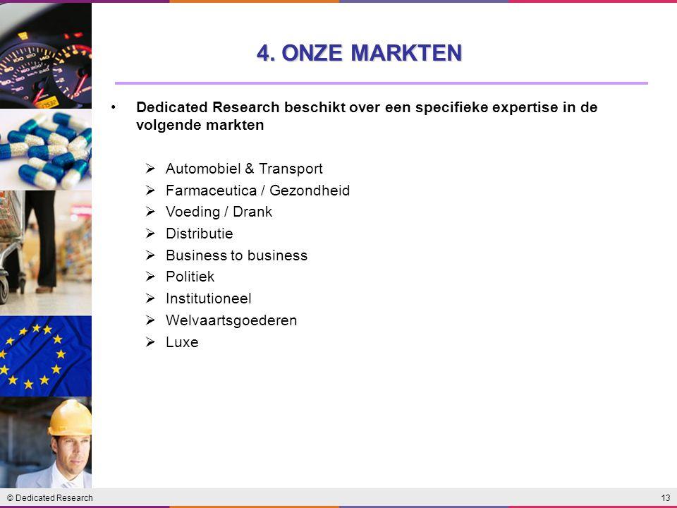 4. ONZE MARKTEN Dedicated Research beschikt over een specifieke expertise in de volgende markten. Automobiel & Transport.