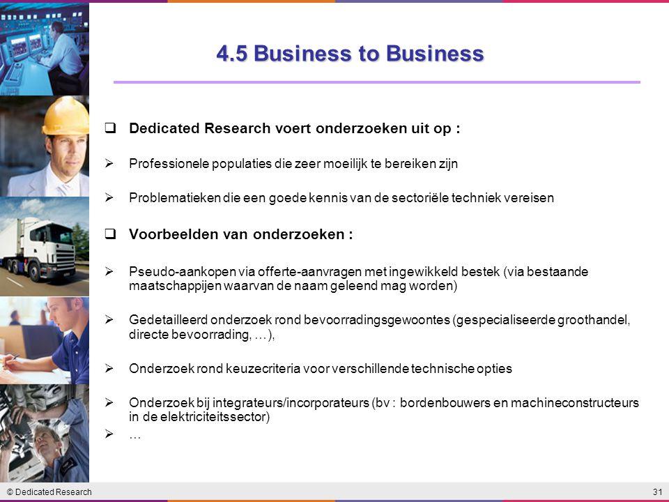4.5 Business to Business Dedicated Research voert onderzoeken uit op :