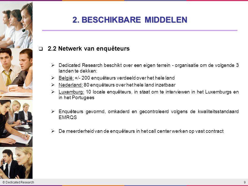 2. BESCHIKBARE MIDDELEN 2.2 Netwerk van enquêteurs