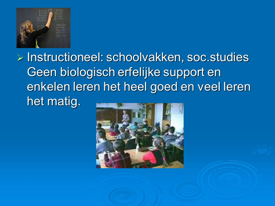Instructioneel: schoolvakken, soc