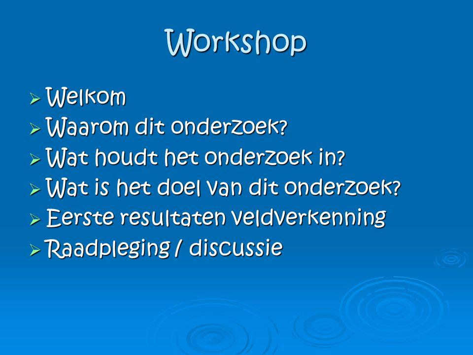 Workshop Welkom Waarom dit onderzoek Wat houdt het onderzoek in