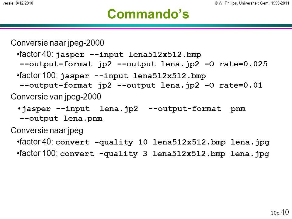 Commando's Conversie naar jpeg-2000